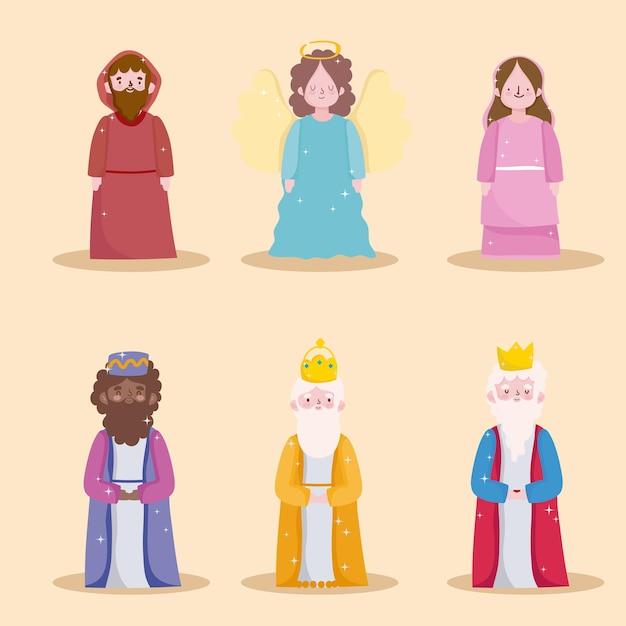Gelukkige openbaring, drie wijze koningen, heilige mary joseph en engel Premium Vector