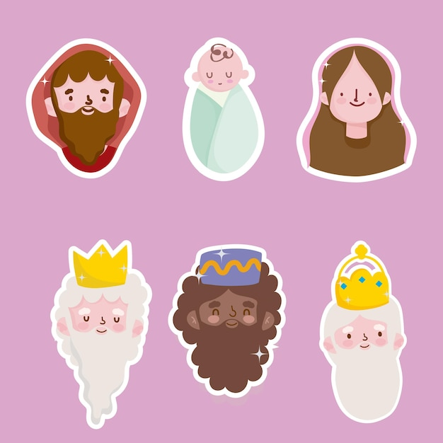 Gelukkige openbaring, drie wijze koningen mary jospeg en baby jezus gezichten stickers Premium Vector