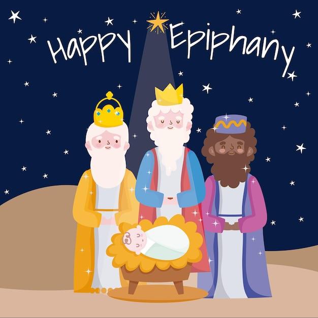 Gelukkige openbaring, drie wijze koningen met de kaart van de de woestijnnacht van baby jesus Premium Vector