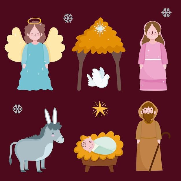 Gelukkige openbaring, heilige mary joseph baby jezus duif ezel en engel Premium Vector