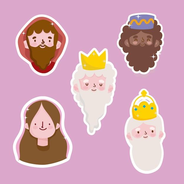 Gelukkige openbaring, joseph mary en drie wijze koningen gezichten stickers Premium Vector