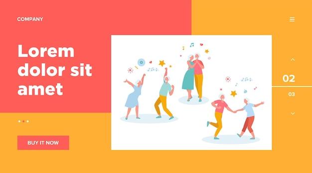 Gelukkige oude mensen dansen geïsoleerde websjabloon. cartoon senior grootvaders en grootmoeders plezier op feestje Gratis Vector