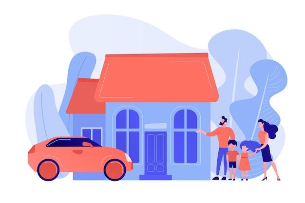 Gelukkige ouders met kinderen en vrijstaand huis. eengezinswoning vrijstaande woning, gezinswoning, vrijstaande woning en eenheidswoningconcept. roze koraal bluevector geïsoleerde illustratie Gratis Vector
