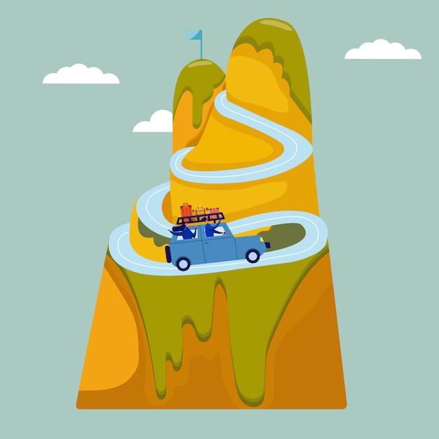 Gelukkige paar reizen samen. paar reis met de auto. man en vrouw zitten in een suv, gelukkige vrienden beleven samen de wereld. landschappen vlakke stijl. reisconcept, huwelijksreis, toerisme en vakantie. Premium Vector