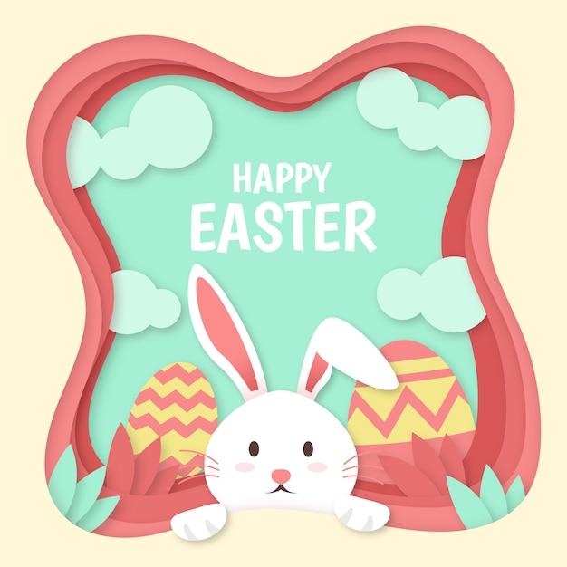 Gelukkige paasdag in papieren stijl met paashaas en beschilderde eieren Gratis Vector