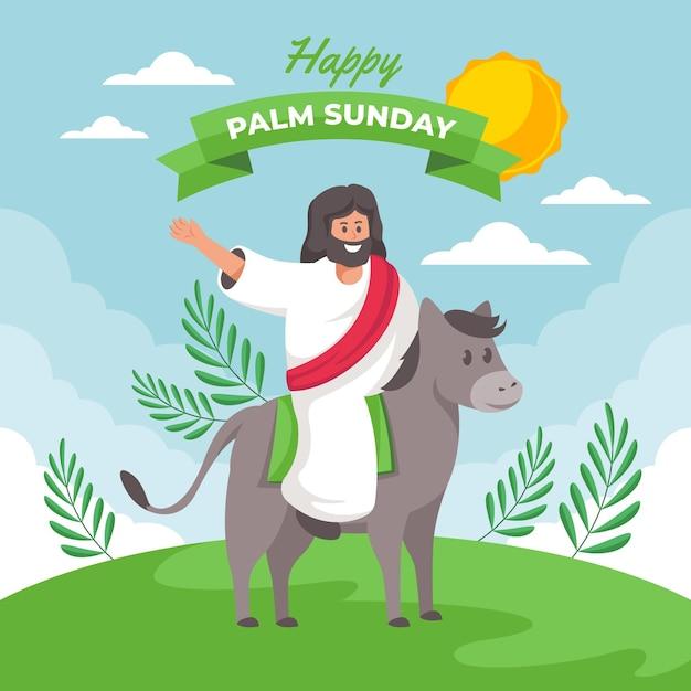 Gelukkige palmzondagillustratie met jezus en ezel Gratis Vector