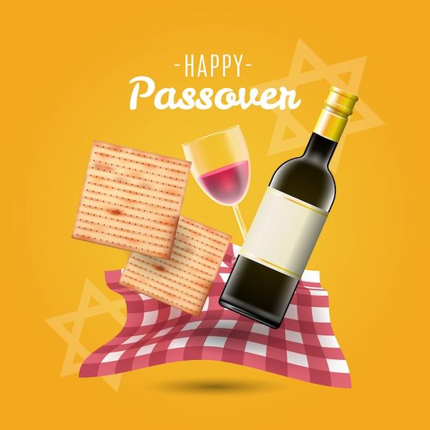 Gelukkige pascha traditionele matzo en wijn als achtergrond Premium Vector