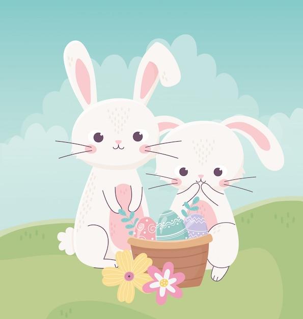 Gelukkige pasen-dag, konijnen nasket met decoratieve het gras vectorillustratie van eierenbloemen Premium Vector