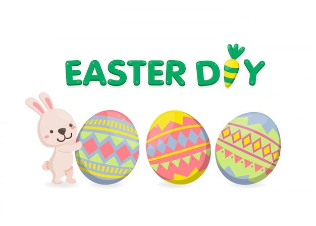 Gelukkige pasen-dag met kleurrijke eieren op witte achtergrond Premium Vector