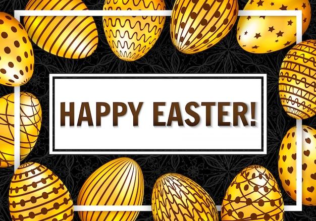 Gelukkige pasen-groetkaart met gouden eieren op donkere achtergrond. vector illustratie Premium Vector