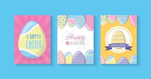 Gelukkige pasen-kaarten met eieren, pastelkleuren Gratis Vector