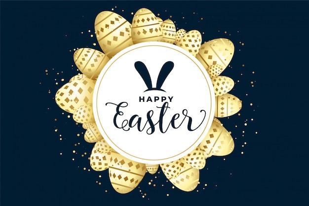 Gelukkige pasen-vieringsachtergrond met eierenframe Gratis Vector