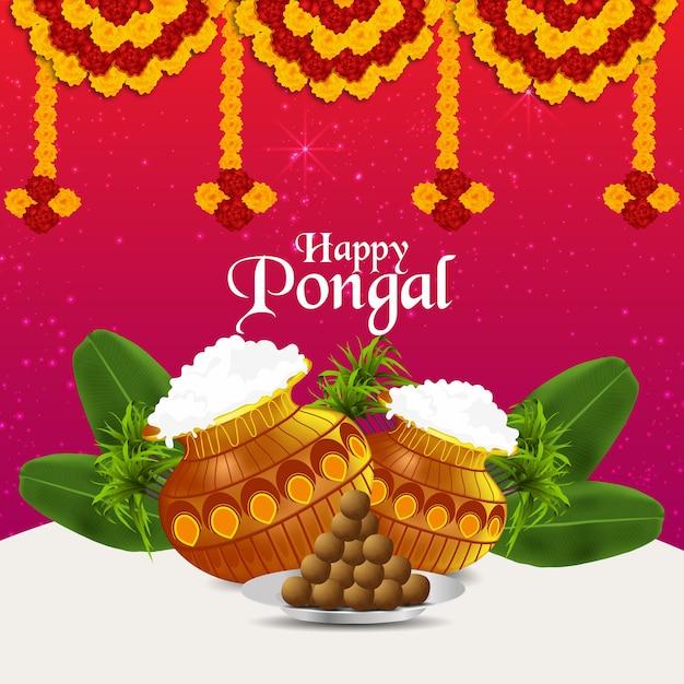 Gelukkige pongal-viering creatieve achtergrond met modderpot en bloem en bananenbladeren Premium Vector