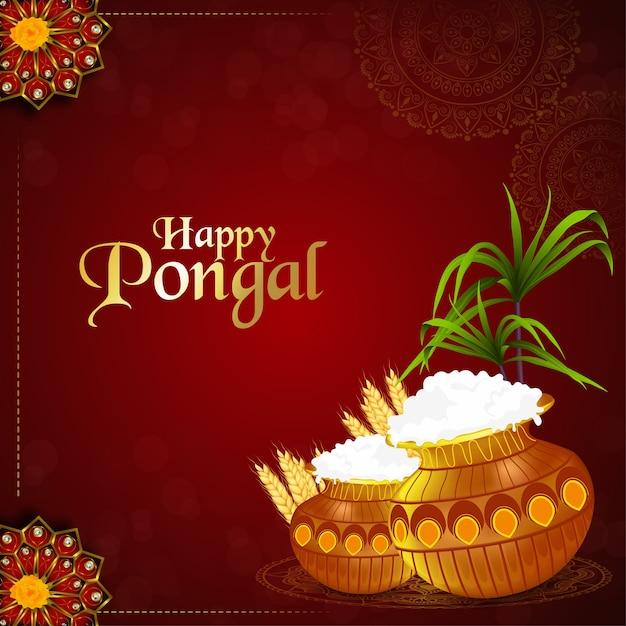 Gelukkige pongal zuid-indiase festivalachtergrond Premium Vector