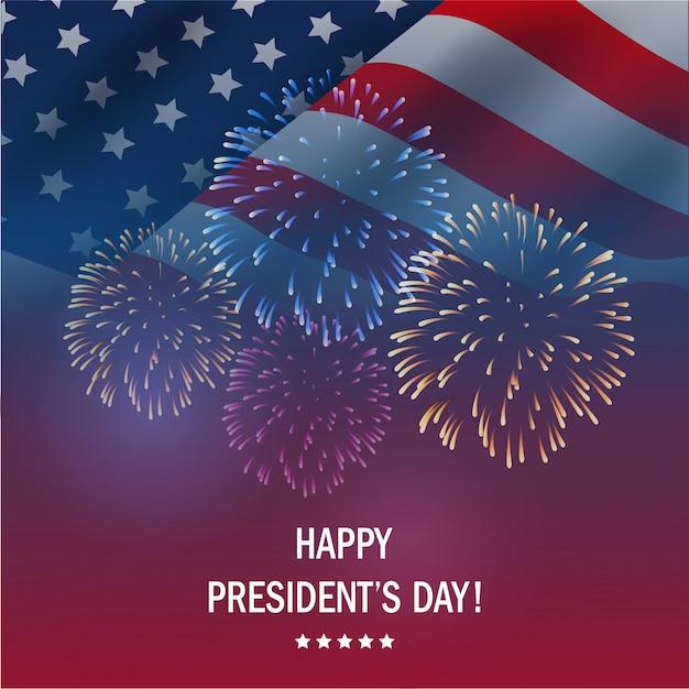 Gelukkige presidenten dag de vs met vuurwerkachtergrond. Premium Vector