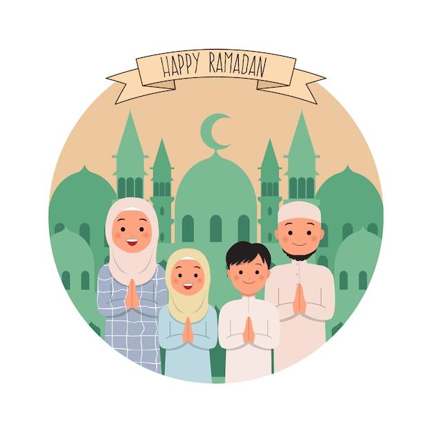 Gelukkige ramadan groet van de moslimfamilie. vlakke stijl vector Premium Vector