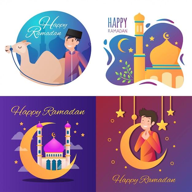 Gelukkige ramadan illustratie Premium Vector