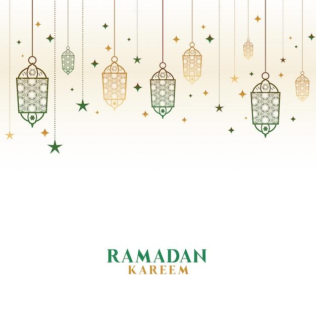 Gelukkige ramadan kareem decoratieve islamitische lampenachtergrond Gratis Vector