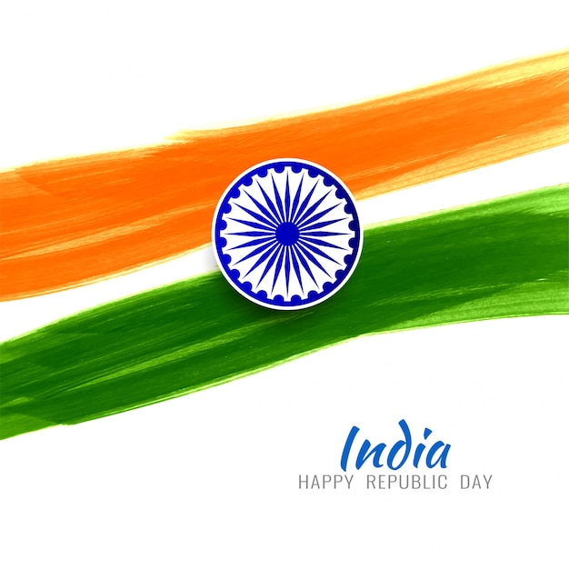 Gelukkige republiek dag indiase vlag moderne achtergrond Gratis Vector