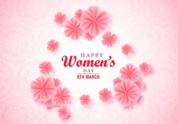 Gelukkige roze bloemen de groetkaart van de vrouwendag Gratis Vector