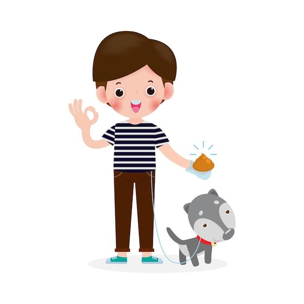 Gelukkige schattige jonge jongen schoonmaken na hond, hond poepen, mannelijk karakter wandelen met hond aan de riem in het park, over hygiëne dierentoilet geïsoleerd op een witte achtergrond illustratie Premium Vector