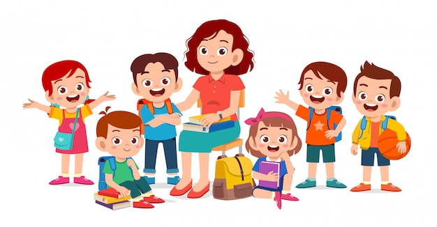 Gelukkige schattige kinderen glimlachen samen met leraar Premium Vector