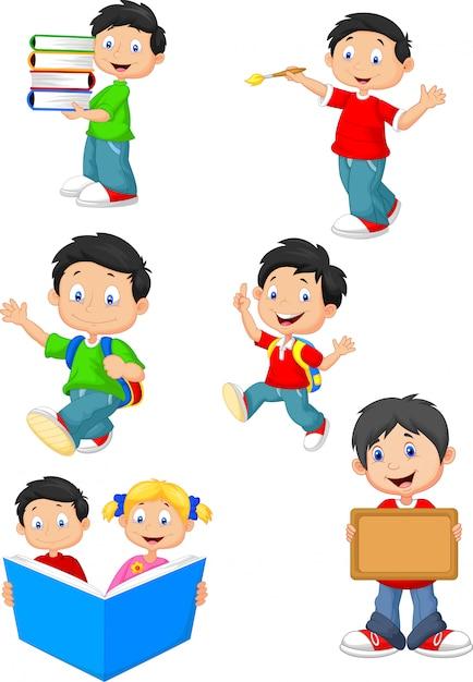 Gelukkige school kinderen cartoon collectie set Premium Vector