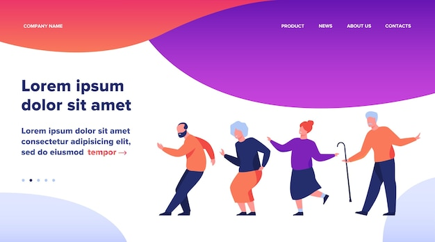 Gelukkige senior mensen dansen op feestje. cartoon grijze haren oude mannen en vrouwen genieten van muziek in de club, plezier maken. vectorillustratie voor leeftijd, hobby, vreugde, pensioenconcept Gratis Vector