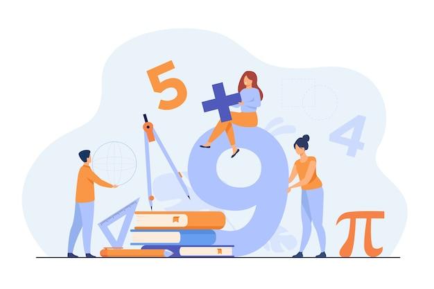 Gelukkige studenten die wiskunde op de universiteit of school leren geïsoleerde vlakke illustratie. Gratis Vector