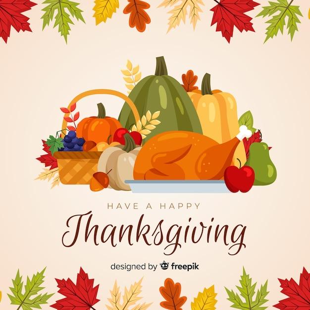 Gelukkige thanksgiving achtergrond in platte ontwerp Gratis Vector