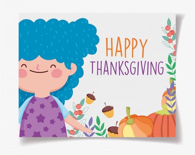 Gelukkige thanksgiving kaart met schattig klein meisje met pompoenen en eikels Premium Vector