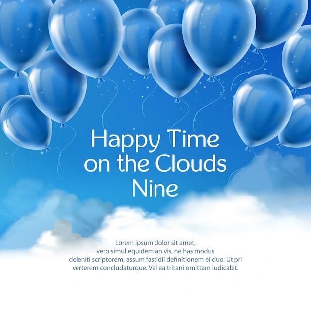 Gelukkige tijd op de wolken negen, banner met positief citaat. Gratis Vector
