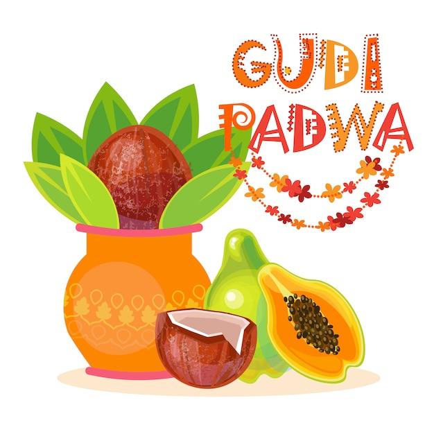 Gelukkige ugadi en gudi padwa hindoe nieuwjaar wenskaart vakantie pot met kokosnoot Premium Vector