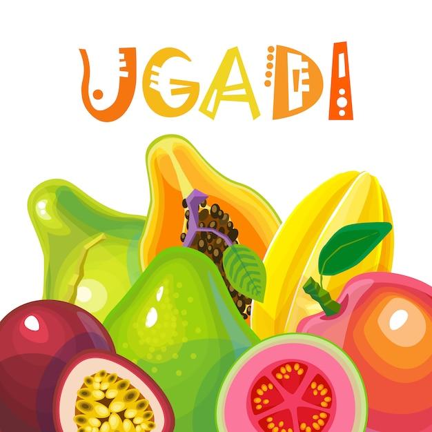 Gelukkige ugadi en gudi padwa hindoe nieuwjaar wenskaart vakantie Premium Vector