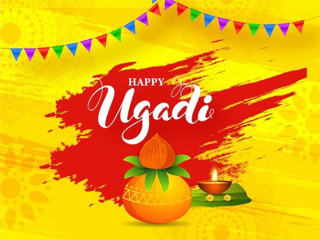 Gelukkige ugadi-illustratie met aanbiddingpot (kalash), bananenblad, verlichte olielamp en rood penseelstreekeffect op geel Premium Vector