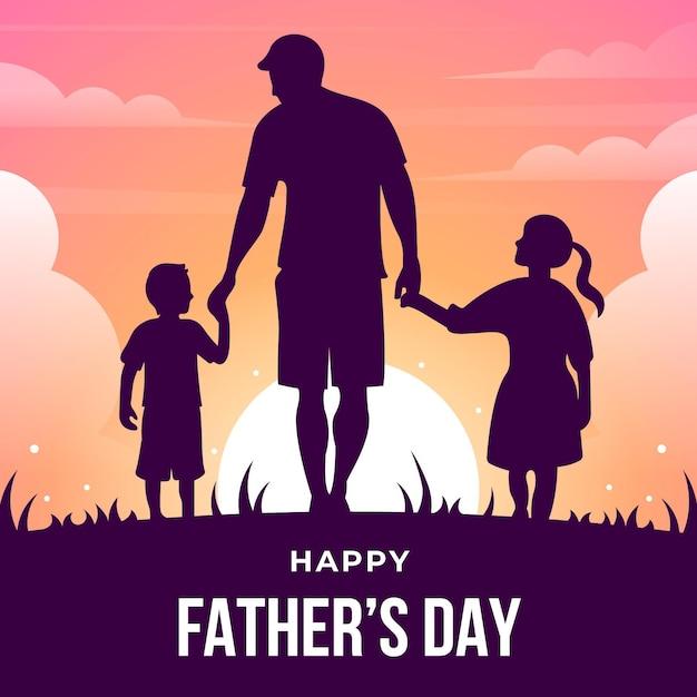 Gelukkige vaderdag met papa en kinderen silhouetten Gratis Vector