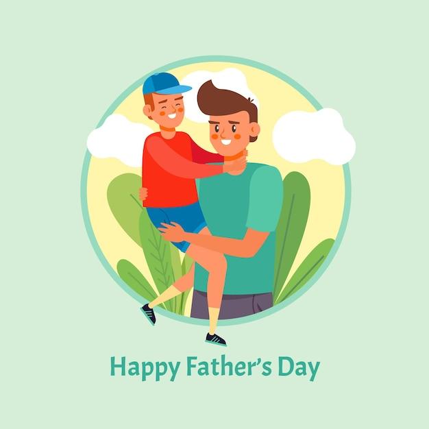 Gelukkige vaderdag met vader en zoon Gratis Vector