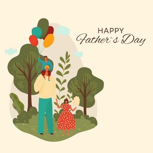 Gelukkige vaderdag wenskaart illustratie. vader en kinderen karakters met ballon en suikerspin die samen plezier hebben, wandelen in het stadspark. liefdevolle familie in buitenavontuur Premium Vector