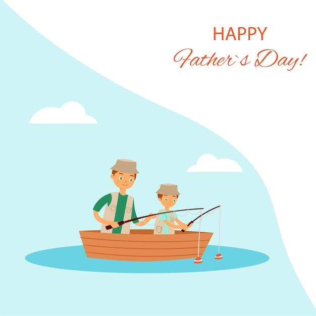 Gelukkige vaderdag wenskaart illustratie. vader en zoon jongenskarakters die op meer vissen, samen in boot zitten in gezinsweekendsactiviteit. liefdevolle familie in buitenavontuur Premium Vector