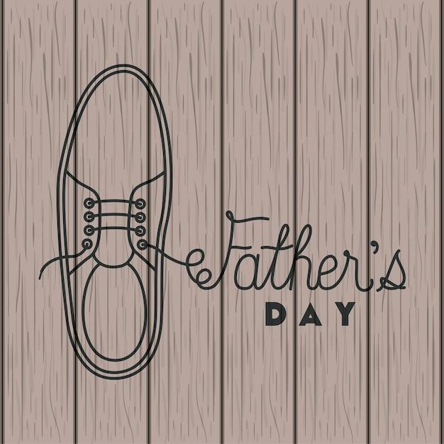 Gelukkige vaders dag kaart met elegante schoenen Premium Vector