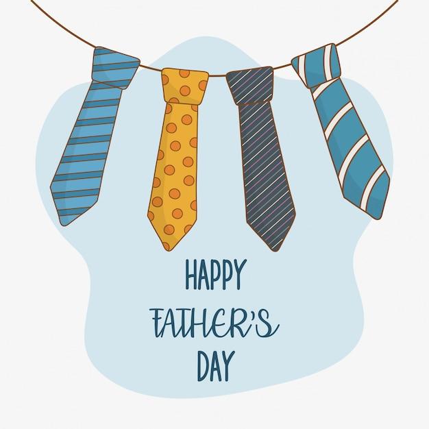 Gelukkige vadersdagkaart met halsbanden het hangen Premium Vector