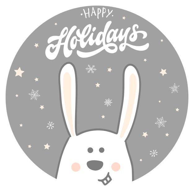 Gelukkige vakantiekaart met konijn en citaat Premium Vector