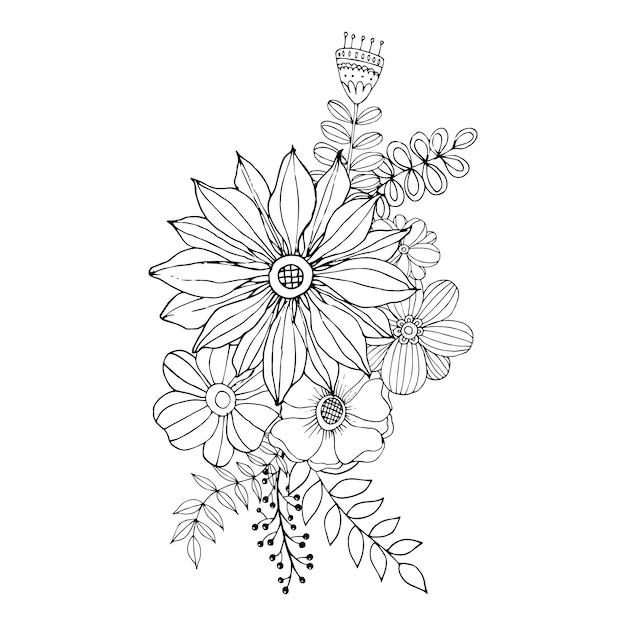 Gelukkige valentijnsdag met bloem doodle boeket kleuren boek stijl vector. Premium Vector
