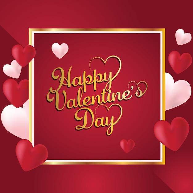 Gelukkige valentijnsdag romantische wenskaart Premium Vector