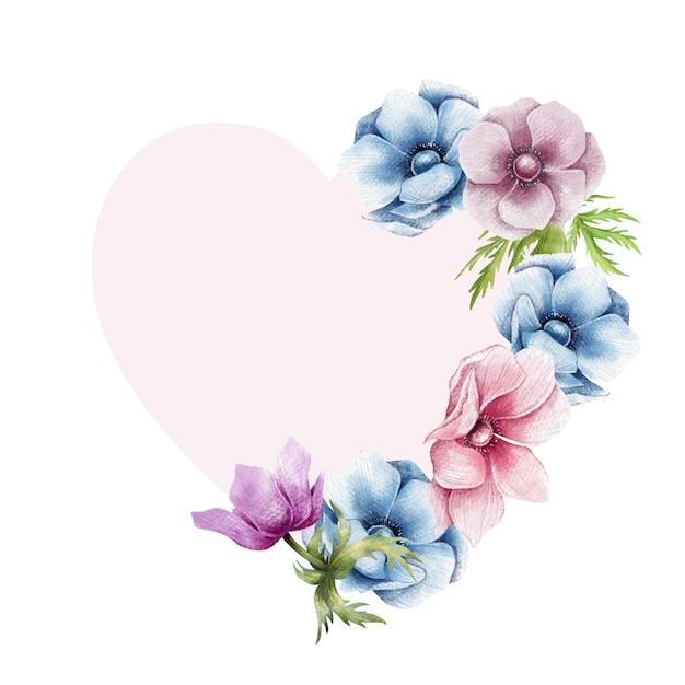 Gelukkige valentijnskaart bloemengrens Premium Vector