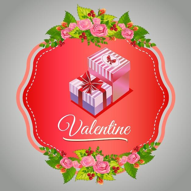 Gelukkige valentijnskaartronde met huidige doos Premium Vector