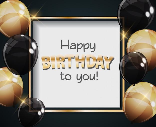 Gelukkige verjaardag aan u wenskaart met kleur glanzende ballonnen Premium Vector