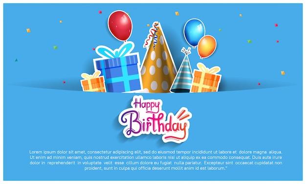Gelukkige verjaardag achtergrond, banner, poster, uitnodiging en wenskaart Premium Vector
