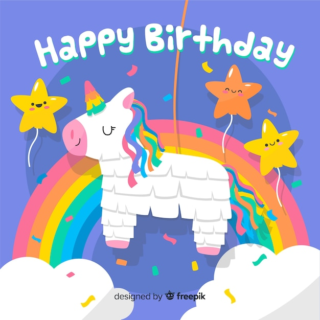 Gelukkige verjaardag achtergrond in de hand getekende stijl Gratis Vector