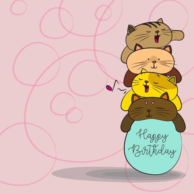 Gelukkige Verjaardag Achtergrond Kat Achtergrond Vector Premium